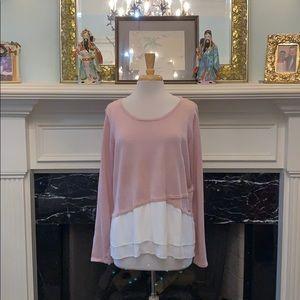 NWOT Ivanka Trump Blush pink / cream hem sweater